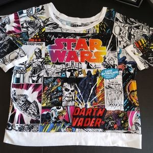 Star Wars 3/4 sleeve cartoon print style t-shirt